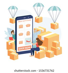 Young girl order product from the dropship store. Drop shipper order to the supplier to deliver the product to her client. Vector illustration flat design style.