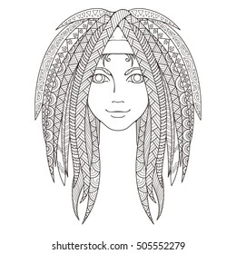 Young Girl Patterned Zentangle Dreadlocks Page Stock Illustration ...