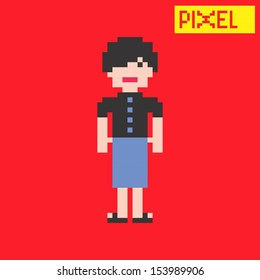 young girl pixel character