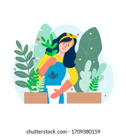A young girl plants a flower in a pot. Vector flat illustration. Gardening and floriculture. Print for the garden center.