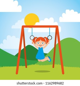 young girl playing with bar rings in the park and sunny day