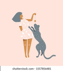 Young girl playing with wild cat graphic design on light pink background. Woman and panther t shirt apparel modern print, silhouette character  illustration.