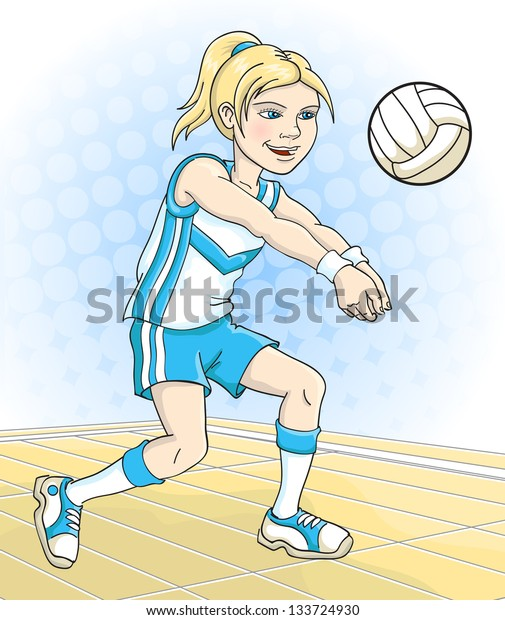 Young girl plays volleyball. Vector illustration.