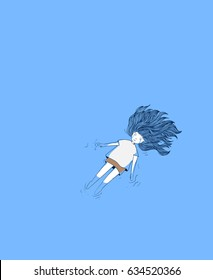 Young girl in the pool.She was crying deeply.Woman crying in blue background