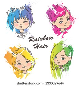 Young girl portraits with bright hair. Different hairstyles of bright rainbow color.Grunge color splash, pencil strokes. Woman haircut set. Beautiful women. Children models. Vector illustration.