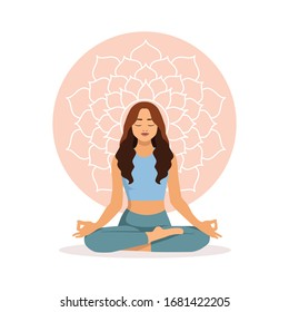 Young girl practices yoga in the Lotus position, in the background is the symbol of the Sahasrara Chakra. The concept of yoga, meditation, relax, harmony. Stock vector illustration in a flat style.