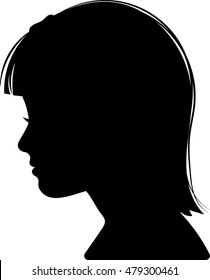 Young Girl Profile Silhouette - Vector Illustration