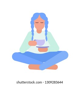 Young girl  in pyjamas drinks herbal tea or coffee from purple cup while sitting in lotos pose. Calmness concept. Isolated vector illustration for posters, cards and other designs