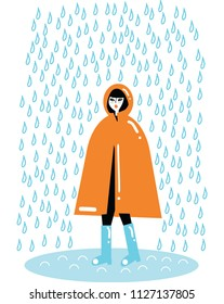 Young girl in a rain coat Vector illustration. Isolated on white. Raining bad weather