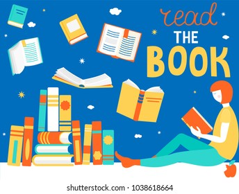 Young girl is Reading book. Close and open books in different positions. Learning and education, relaxation and enjoyment concept design. Vector illustration in flat style.