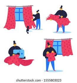 Young girl recycling the curtains that ruined the cat,using sewing machine. Woman made new t-shirt from an old draperies.Illustration of textile recycling.Concept of reducing waste.Vector cartoon flat
