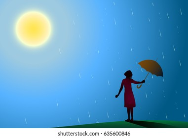 Young girl in red dress standing in the rain pulls aside red umbrella to look at bright sun, rain is over, hot summer rain,