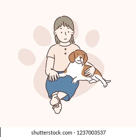 A young girl sits on the floor and a beagle pup is sitting next to her. hand drawn style vector design illustrations.