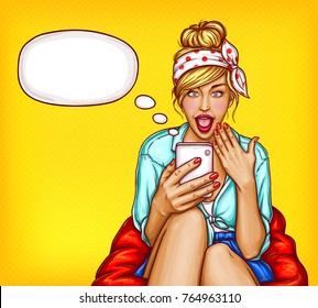 A young girl sitting in a chair with an amazed face and an open mouth looks into the smartphone and reads the SMS that has come, correspondence. Excellent poster in the style of pop art.