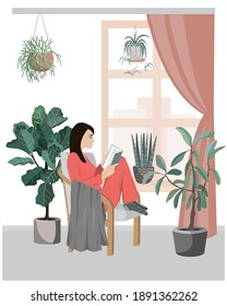 Young girl sitting in comfortable armchair and reading a book in room full of plants. Woman spending weekend time at home. Colored vector illustration in flat cartoon style.
