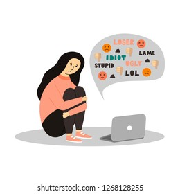 Young girl sitting in front of the laptop on white background. Cyber Bullying. - Vector.