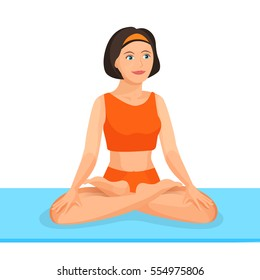 Young girl sitting in lotus posture practices yoga. Vector illustration of female person in special clothes for trainings takes care of her health and does oriental gymnastics on blue carpet