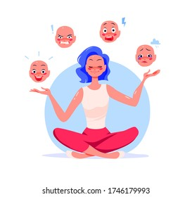 Young girl sitting in lotus yoga asana pose controlling emotions – ecstasy, anger, stress, fear, sadness and depression. Mental health and personal harmony concept. Vector flat illustration.
