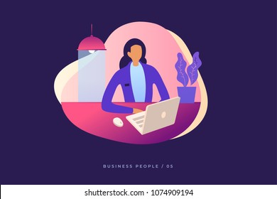 Young girl sitting in office and working on laptop looking at screen. Business lady or company worker. Colorful flat vector illustration for website, presentation and promotional materials.
