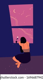The young girl is sitting on the floor near a window and looking outside. The dreamy girl looks at the stars. Concept of calm and tranquility. Hand drawn vector illustration.