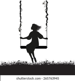 young girl sitting on the swing in summer garden, silhouette, shadows