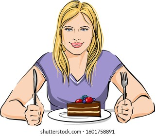 A young girl is sitting at the table. She is going to try a delicious piece of cake that lies in front of her on a plate. The girl is smiling and is in a good mood.
