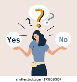 Young girl standing confusedly to choose YES or NO. Concept of choice, selection, answer, reply, accept of refuse. Flat style vector illustration cartoon character.