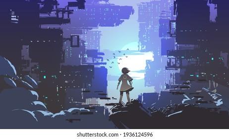 junges Mädchen, das steht und die Cyberpunk-Stadt anschaut, Vektorgrafik