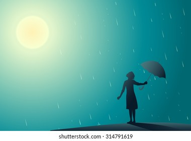 Young girl standing in the rain pulls aside umbrella to look at bright sun, rain is over