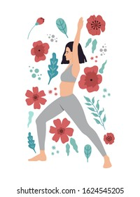 Young girl is standing in yoga pose. Girl performs exercises. Vector illustration, graphic design. Flat style