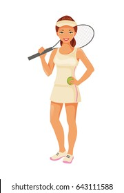 Young girl tennis player with racket isolated on white background. Individual sport. Vector illustration