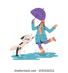 Young girl with umbrella playing with puppy and splashing in puddle. Female owner walking with dog isolated on white background. Vector character illustration of pet care, training for domestic animal