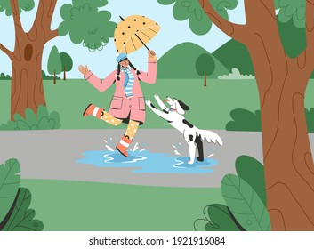 Young girl with umbrella walking with dog in park. Female owner playing with puppy and splashing in puddle outdoors. Vector character illustration of pet care, training, activity for domestic animal