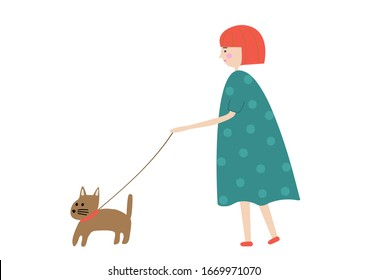 Young girl walking with dog