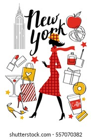 A young girl walks. New York. Vector hand drawn illustration. Fashion accessories.