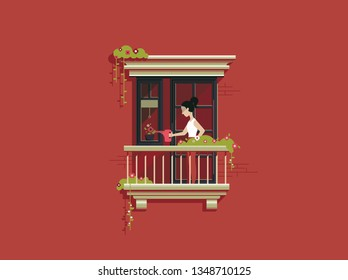 Young Girl watering plant on balcony flat illustration