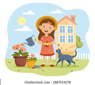 Young girl watering plants in the garden with her cat in a concept of yard care and maintenance, colored cartoon vector illustration