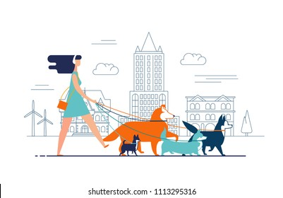 Young girl wearing dress and headphones walks dogs on leash along city street against buildings on background. Female cartoon character promenades or strolls with her domestic animals in downtown