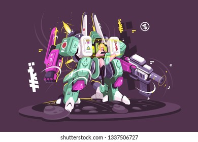 Young girl wearing exoskeleton vector illustration. Rigid external covering for the body providing support and protection flat style design. Isolated on dark background