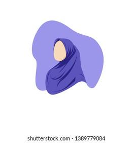 Young girl wearing hijab flat illustration