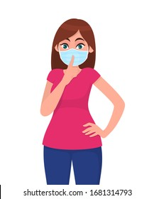 Young girl wearing medical face mask and asking silence. Keep quiet please! Sh! Trendy woman covering protective surgical mask and keeping finger on lips. Cartoon illustration design in vector style.