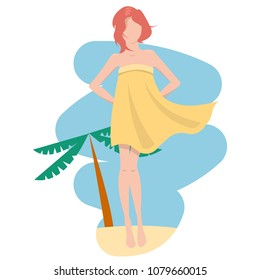 Young girl is wearing pareo staying over blue sky and beach sand. Windy. Flat vector illustration