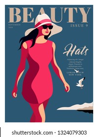 Young girl wearing red dress, big white hat and sunglasses, walking on the beach. Woman fashion magazine cover design for the summer travel season. Vector illustration