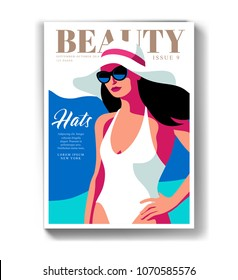 Young girl wearing swimsuit, sunglasses and big hat, walking on the beach. Woman magazine cover design for summer travel season. Vector illustration
