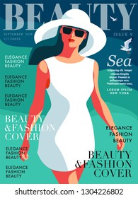 Young girl wearing white dress, big white hat and sunglasses. Sea background with gulls. Woman fashion magazine cover design for the summer holiday season. Vector illustration