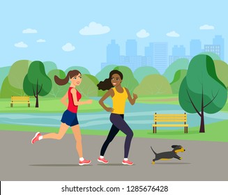 Young girlfriends  run with dog in park. Vector flat style illustration