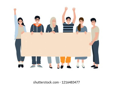 Young girls and boys holding a banner without inscriptions. Active people Express their opinion, position, take part in the demonstration. Vector isolated illustration in modern flat style