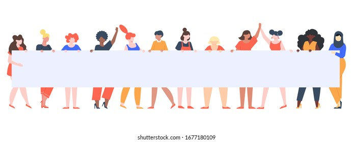 Young girls holding banner. Female group with placard, women rights manifestation, female diverse team holding empty sign vector illustration. Riot against, picket feminism, public demonstrate