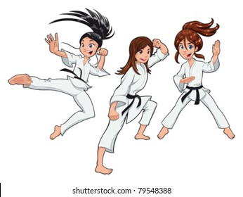 Young girls, Karate Players. Vector cartoon isolated characters