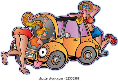 Young girls and old car
